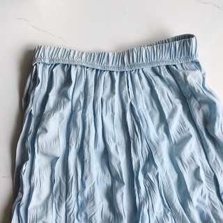 🚚 美麗的水藍色皺皺造型闊腿寬褲