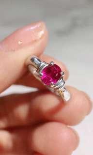 日本回流 PT900鉑金紅寶石戒指