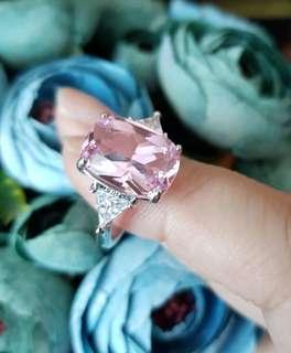 BN Romantic Pink Princess-cut Solitaire with CZ details