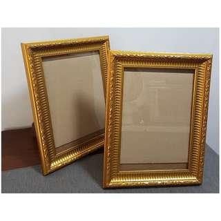 2 pieces A4 Wooden Table Top Hanging Photo Frame Gold