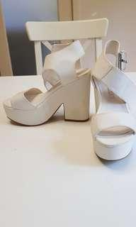 White chunky heeled sandals
