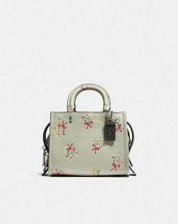 Coach rogue 17 mint floral bowery pebble leather