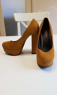 Mustard platform block heels