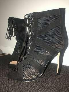 Fersali high boot heel black tie up lace