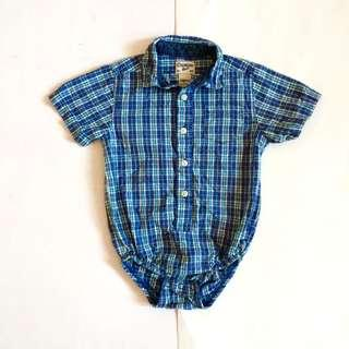 OSHKOSH B'GOSH BABY BOY CHECKERED ONESIE POLO