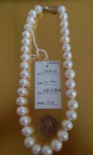 天然 珍珠 白色近圓珠