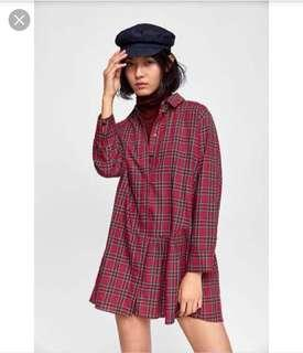 Zara Red Plaid Dress