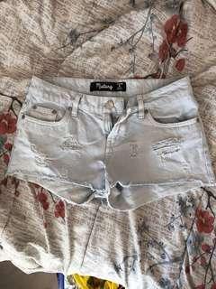 Light Blue Denim Shredded Destroyed Ripped Shorts from Factorie