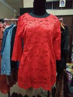 Kebaya brukat brokat lace merah premium halus