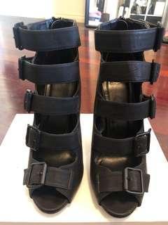 Black side buckle open toe heels