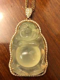 天然高冰翡翠站佛,18K玫瑰金南非鑽石鑲嵌,長4.8cm-闊2.8cm-厚1.4cm