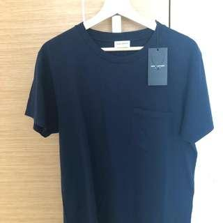 🚚 Men's Saint Laurent Dark Blue Tshirt with pocket