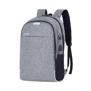 🚚 【Q夫妻】簡約 密碼鎖 連接USB充電接口 耳機孔 書包 後背包 雙肩包 帆布包 商務包 電腦包 灰色 #B1021-1
