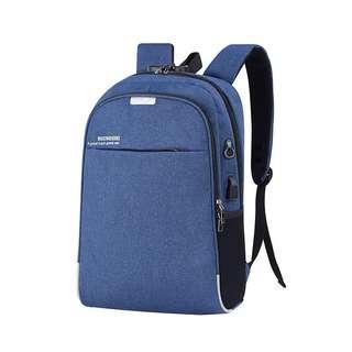 🚚 【Q夫妻】簡約 密碼鎖 連接USB充電接口 耳機孔 書包 後背包 雙肩包 帆布包 商務包 電腦包 藍色 #B1021-3