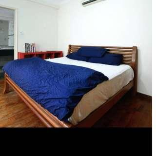 king size wood Bed frame and Simmons mattress for sale