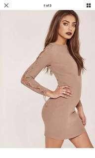 Missguided Long Sleeve Tie Bodycon Dress Taupe Size 6