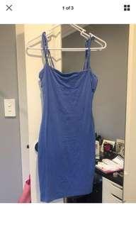 KOOKAI BLUE Stretch Bodycon Tie Strap Dress Size 1 AU6
