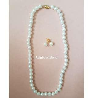 Pearl Necklace with Pearl Ear Studs