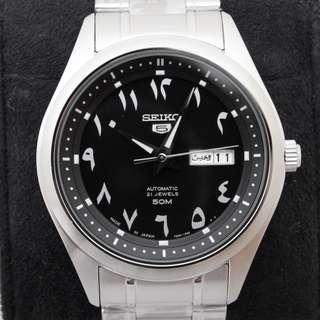 Seiko 42mm Stainless Steel Eastern Arabic Black Dial - Brand New