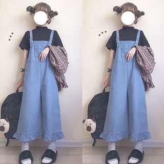 🚚 Denim Blue Coloured Bib With Scallop Ruffled Hem Overall Jumpsuit