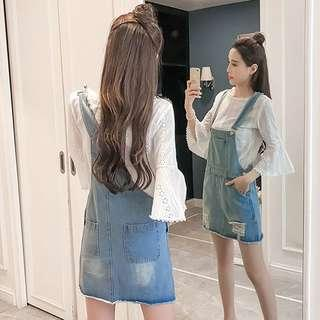 🚚 Denim Blue Coloured Crossed Back Ripped Overall Dress