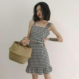 🚚 Lattice Checkered Plaid Top With Matching Ruffled Hem Skirt 2-Pieces Set