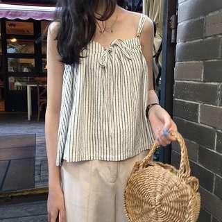 🚚 White Stripes Ribbon Tie Camisole Top