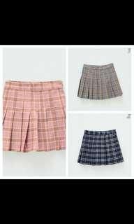 🚚 Checkered pleated skirts grey black pink