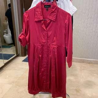 Renée Babydoll Dress Deep Red Merah Maroon [Preloved]