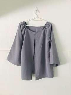Purplish grey off shoulder top