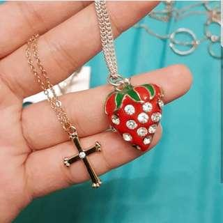 Forever 21 Cross and Strawberry Necklace