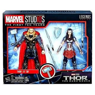 MISB 2 Pack Marvel Legends Thor & Sif The First Ten Years Marvel Studios Series Thor The Dark World