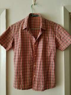 🚚 粉紅色 格子 短袖襯衫