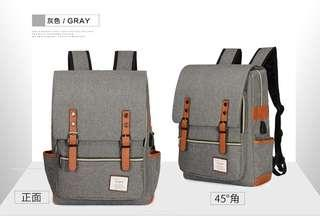 🚚 【Q夫妻】韓版 大容量 連接USB充電接口 書包 後背包 雙肩包 帆布包 灰色 #B1022-1