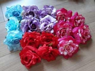 Artificial rose flower heads 10cm diameter