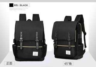 🚚 【Q夫妻】韓版 大容量 連接USB充電接口 書包 後背包 雙肩包 帆布包 黑色 #B1022-2