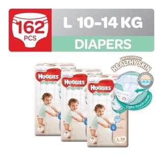 🚚 Huggies Platinum Diapers Large 54S x 3 Packs