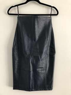 Sheike navy leather look skirt.. NEVER WORN
