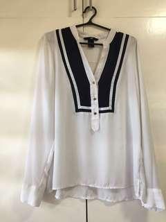 Chiffon Women's White Longsleeves blouse