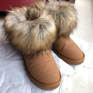 🚚 韓 仿真狐狸毛領卡其百搭雪靴 栗子色 37碼 23.5cm #半價衣服市集