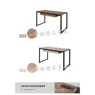香榭二手家具*全新精品 北歐風時尚質感 插座電腦桌(兩色可挑選)-充電桌-書桌-辦公桌-工作桌-美甲桌-洽談桌-餐桌
