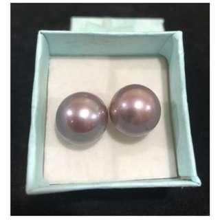 Freshwater Pearl Earrings Edison Violet color 13mm Silver