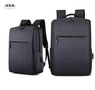 🚚 【Q夫妻】簡約 連接USB充電接口 書包 電腦包 商務包 後背包 雙肩包 帆布包 黑色 #B1023-2