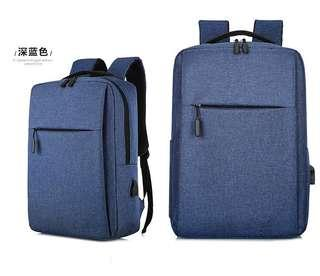 🚚 【Q夫妻】簡約 連接USB充電接口 書包 電腦包 商務包 後背包 雙肩包 帆布包 藍色 #B1023-3