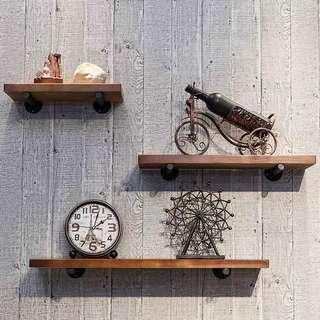 Wall shelf solid wood partition wrought iron storage wall hanging wall word shelf bookshelf living room decoration decorative frame