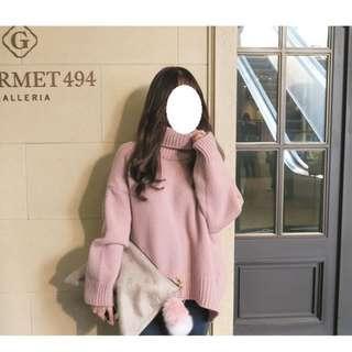 🚚 韓 乾燥玫瑰色系 高領慵懶寬鬆針織衫 超美 #半價衣服市集