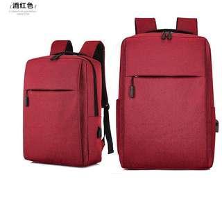 🚚 【Q夫妻】簡約 連接USB充電接口 書包 電腦包 商務包 後背包 雙肩包 帆布包 紅色 #B1023-4