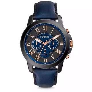 🚚 Fossil Men's Grant Chronograph Black and Blue Dial Navy Leather Watch