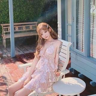 V領春夏氣質粉網紗亮片仙女連衣裙