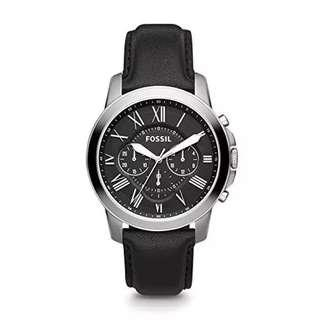 🚚 🌲Promo SALES🌲Fossil Grant Chronograph Men's Black Leather Strap Watch